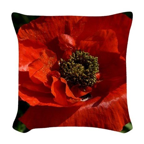 A red poppy on a throw pillow.