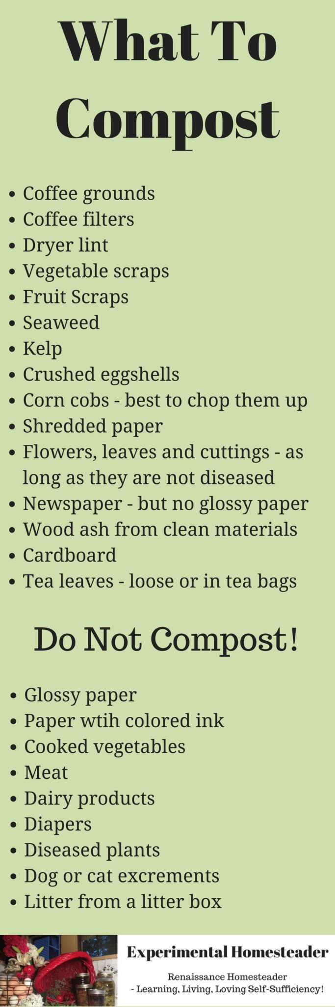 A printable list of what to compost.